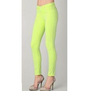 J Brand Neon Yellow Yello Green Twill Skinny Jeans